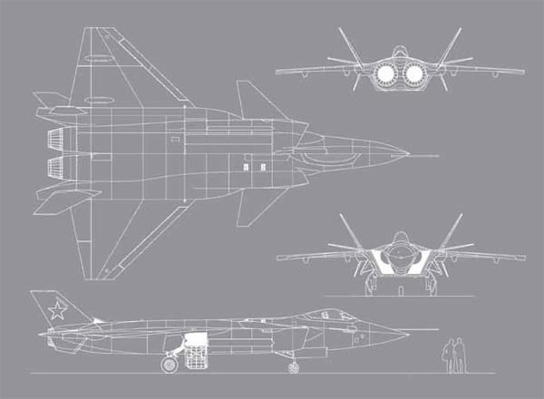Интегральная схема планера, силовая установка из двух двигателей, ПГО, цельноповоротные кили и уже всем знакомый...