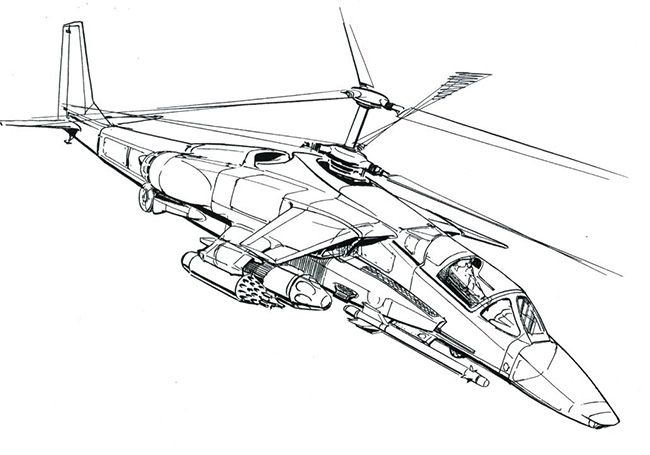 Первый облик вертолёта В-80 в исполнении заместителя главного конструктора Фомина С.Н. (1976 г.)