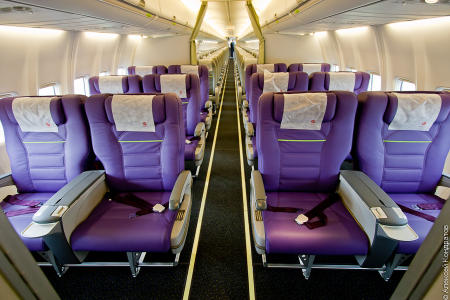 Business class cabin is equipped with 12 passenger chairs manufactured